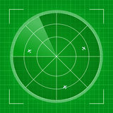 Green Radar with Airplanes Stock Image