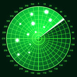 Green radar screen. Royalty Free Stock Photography