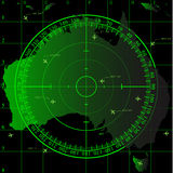 Green radar screen over Australian territory Stock Photography