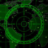 Green radar screen over map of the world Royalty Free Stock Photos