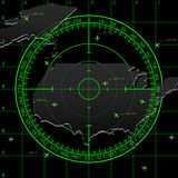 Green radar screen over USA Stock Photo