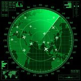 Green radar screen with planes and world map Royalty Free Stock Images