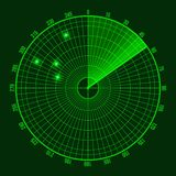 Green Radar Screen. Vector. Illustration on Dark Background Royalty Free Stock Images