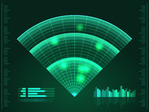 Green radar screen. Vector illustration for your design. Technology background. Futuristic user interface. HUD. Royalty Free Stock Images