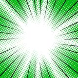 Green radial motion lines halftone for manga superhero.  Stock Image