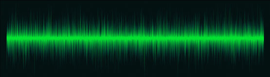 Green Radio Waves. With Mixed Frequency On Black Background Stock Image