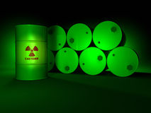 Green Radioactive Barrels Stock Photos