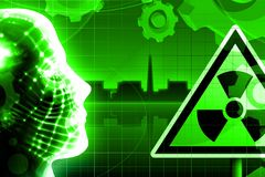 Green radioactivity nuclear power plant. Illustration Stock Photos