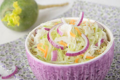 Green radish salad with sauerkraut and onion Royalty Free Stock Images
