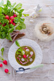 Green radish soup Stock Photo