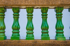 Green railing Royalty Free Stock Photos