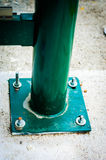 Green Railings Detail. Close up detail shot of green railings on a bus stop Stock Photo