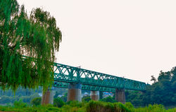 Green Railroad Bridge over river with willow tree in the foreground Stock Photo