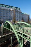 Green railway bridge in VIenna, Austria Royalty Free Stock Images