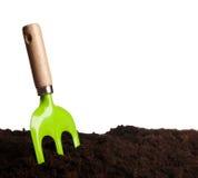 Green rake in ground Stock Photo