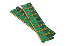 Green RAM DDR microchip Stock Images