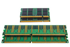 Green RAM DDR microchip for pc and notebook Royalty Free Stock Photos