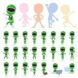 Green Ranger. Set of various poses of Green Ranger Royalty Free Stock Photo
