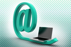 Green At The Rate And Laptop In Haftone Stock Photo