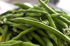 Green raw french beans close-up. Selective focus. Green raw french bean close-up. Selective focus Royalty Free Stock Photos