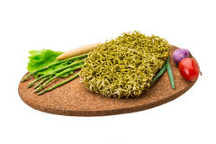 Green raw noodles Royalty Free Stock Photography