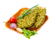 Green raw noodles Royalty Free Stock Photo