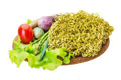 Green raw noodles Stock Images
