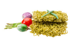 Green raw noodles. With asparagus and vegetables Stock Photography
