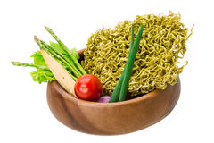 Green raw noodles. With asparagus and vegetables Royalty Free Stock Photography