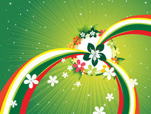 Green rays background with colorful stripes, bloom Royalty Free Stock Image