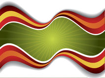 Green rays with red and orange waves Royalty Free Stock Image