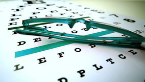 Green reading glasses falling onto eye test stock video footage