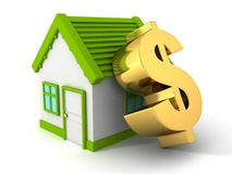 Green real estate concept house with big golden do Stock Photo