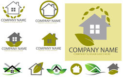 Green real estate logo set Royalty Free Stock Images