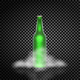 Green realistic beer bottle in the fog on a transparent background used. Royalty Free Stock Photography