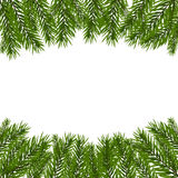 Green, realistic fir branches. Fir branches with the top and bottom of the picture. Isolated on white background Royalty Free Stock Photo