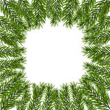 Green, realistic fir branches. Spruce branch in a circle. Isolated on white background. Christmas illustration Royalty Free Stock Photo