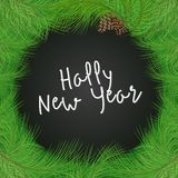 Green realistic fir tree frame with cones. And phrase Happy New Year in the center. Christmas greeting card concept. Decoration vector illustration Stock Photography