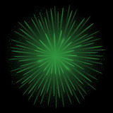 Green realistic fireworks. On the black background, Vector illustration Stock Photo