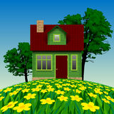 Green realistic house in the summer landscape with a floral mead Stock Photos