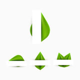 Green realistic leaf paper banner abstract background. Design vector illustration