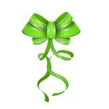 Green realistic vector double gift bow Stock Photos