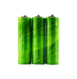 green rechargeable aa alkaline battery with leaves shape. Stock Image