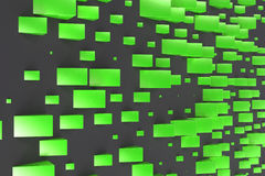 Green rectangular shapes of random size on black background Royalty Free Stock Photos