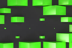 Green rectangular shapes of random size on black background Stock Photography