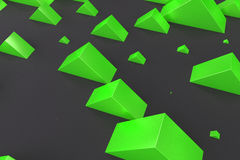 Green rectangular shapes of random size on black background Stock Photos
