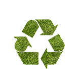 Green recycle. Recycle symbol textured with grass on white background Stock Photos
