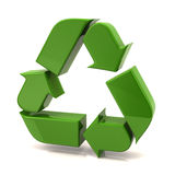 Green recycle arrows. On white background Stock Photo