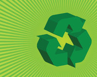 Green recycle background. Vector illustration of a 3D recycle logo on a green ray background Stock Photo