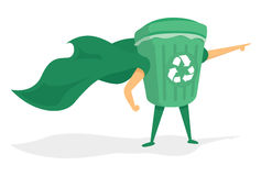 Green recycle bin super hero with cape Royalty Free Stock Images